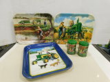 (3) TIN JOHN DEERE SERVING TRAYS & A SET OF JOHN DEERE S&P SHAKERS