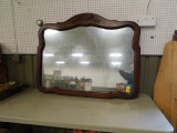 LARGE ANTIQUE OAK FRAMED WALL MIRROR