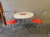 CHROME COCA COLA ICE CREAM PARLOR TABLE W/ (2) MATCHING CHAIRS