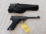 BROWNING CHALLENGER .22 LR CAL AUTO PISTOL W/ LEATHER HOLSTER