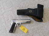 COLT 1911 .45 ACP NICKLE PLATED PISTOL W/ LEATHER HOLSTER