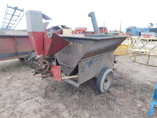 GRIAN-O-VATOR SINGLE AXLE AUGER WAGON W/ McCORMICK BROADCAST SEEDER