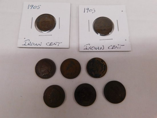 (8) 1900's INDIAN HEAD PENNIES