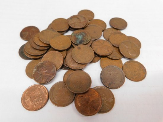 (50) WHEAT PENNIES 1920's - 1950's