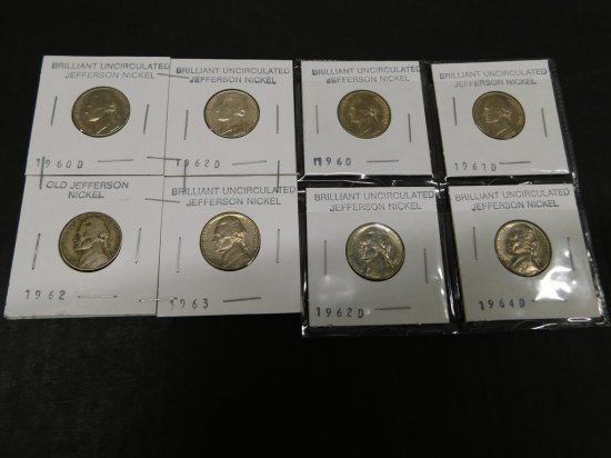 (8) 1960's UNCIRCULATED JEFFERSON NICKELS
