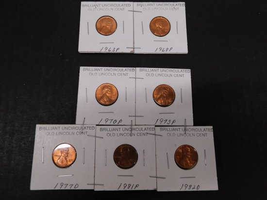 (7) 1960's & 70's UNCIRCULATED LINCOLN CENTS