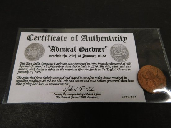 EAST INDIA COMPANY ADMIRAL GARDNER SHIPWRECK CASH COIN