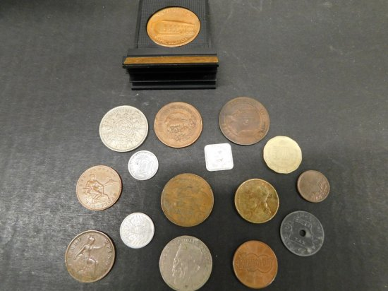 LOT OF FOREIGN COINS TOKENS AND MEDALS