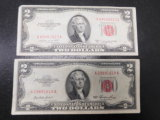 2 PAC OF OLD $2 RED SEAL BILLS