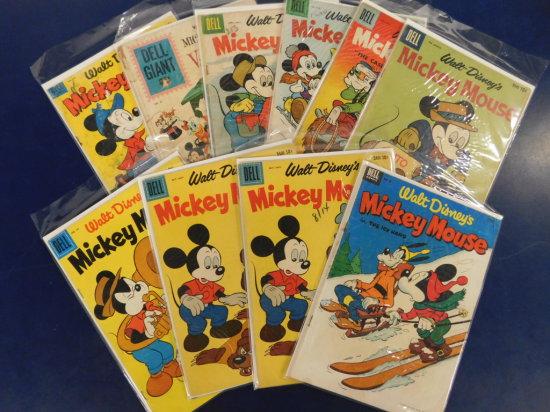 "(10) WALT DISNEY ""MICKEY MOUSE"" COMIC BOOKS - DELL COMIC"