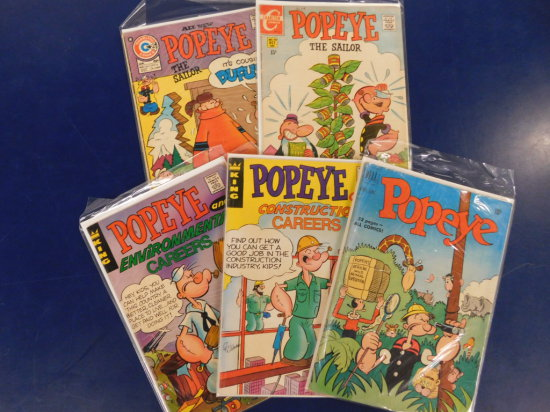 (5) POPEYE COMIC BOOKS - ASSORTED PUBLISHERS