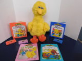 1986 BIG BIRD STORY MAGIC PLUSH TOY W/ BOOKS & CASSETTES