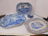 VINTAGE MISC. BLUE AND WHITE PLATTERS; OREINTAL CUP SAUCER