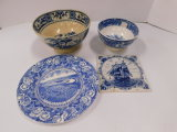 VINTAGE BLUE AND WHITE RICE BOWL, PLATE, AND TRIVET