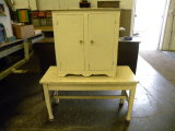 VINTAGE PIANO BENCH WITH WHITE CABINET