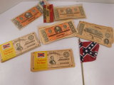 VINTAGE CONFEDERATE PLAY MONEY AND FLAG
