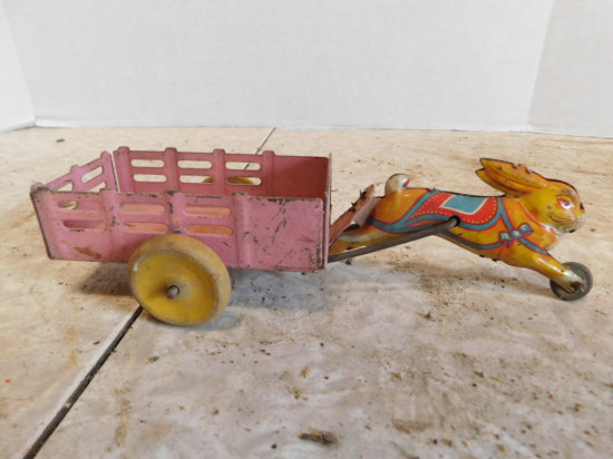 TIN TOY RABBIT CART - POSSIBLY MARX