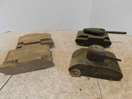 (4) WOOD TOY TANKS