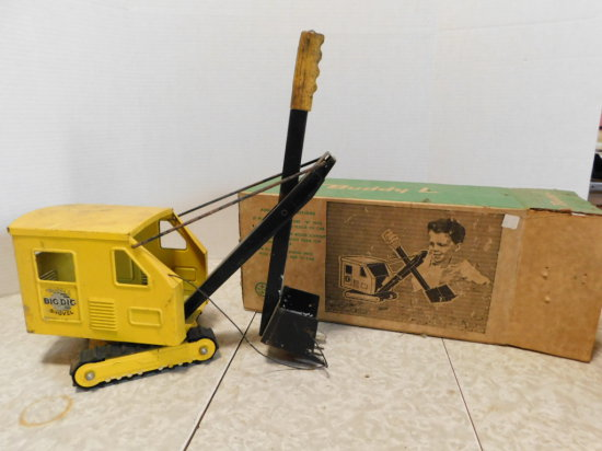 BUDDY L BIG DIG STEAM SHOVEL WITH ORIGINAL BOX