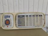 MILLER LITE LIGHTED PLASTIC BEER MENU BOARD WITH NUMBERS