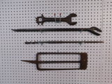 VINTAGE TILLING SPADE;DRILL BIT;AND WRENCHES
