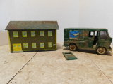 BUDDY L R-E-A EXPRESS DELIVERY VAN & A TIN TOY BUILDING