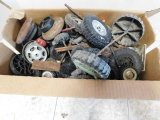 BOX OF BUDDY L & OTHER WHEELS, TIRES, AXLES