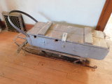 VINTAGE RUNNER SLED MODIFIED W/ CRATE FOR ICE FISHING
