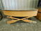 WOODEN CANOE COFFE TABLE WITH GLASS TOP