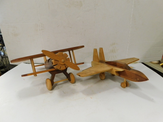 (2) HAND MADE WOODEN AIRPLANES