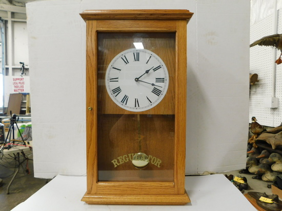 WOOD MANTEL REGULATOR CLOCK
