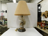 TAXIDERMY QUAIL INSIDE GLASS BASE LAMP
