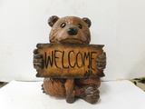RESIN CUB BEAR WITH WELCOME SIGN