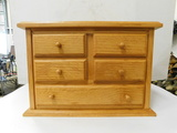 WOODEN 5 DRAWER TABLE TOP CHEST