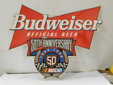TIN BUDWEISER 50TH ANNIVERSARY NASCAR SIGN