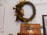 WOODEN DUCK WALL PICTURE WITH WREATH