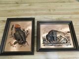 (2) BRONZE 3D FRAMED ANIMAL PICTURES