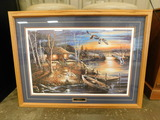 FRAMED AND MATTED CABIN RIVER SCENE