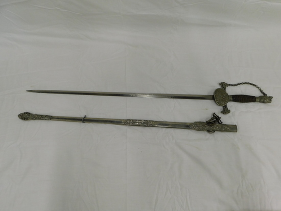 "VINTAGE CEREMONIAL (POSSIBLY FRENCH) 28"" SWORD W/ SCABBOARD"