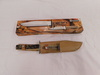TRAMONTINA STAG HANDLED KNIFE SET W/ LEATHER SHEATH & BOX