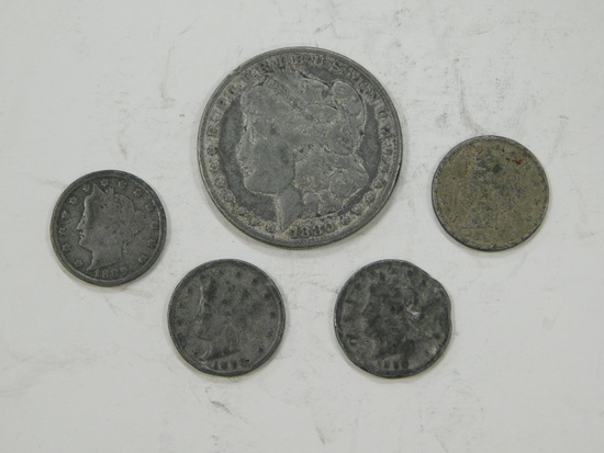 (4) COUNTERFEIT LIBERTY NICKELS & (1) COUNTERFEIT MORGAN