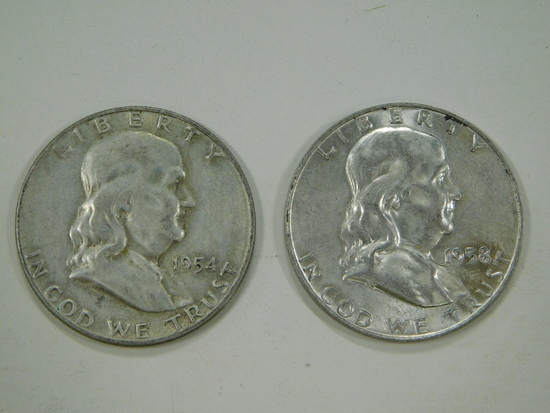 1954 & 1958 FRANKLIN HALF DOLLARS