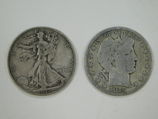 1937D & 1915D LIBERTY & BARBER HALF DOLLARS