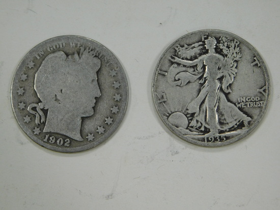 1935D & 1902 LIBERTY & BARBER HALF DOLLARS