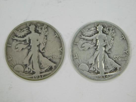 1934S & 1937D LIBERTY HALF DOLLARS