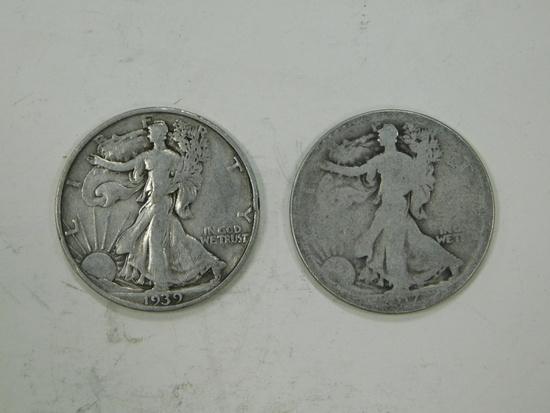1939S & 1917S LIBERTY HALF DOLLARS