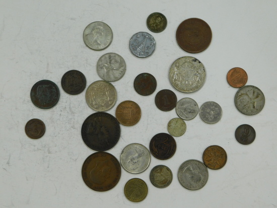 ODD LOT OF FOREIGN COINS - SOME SILVER