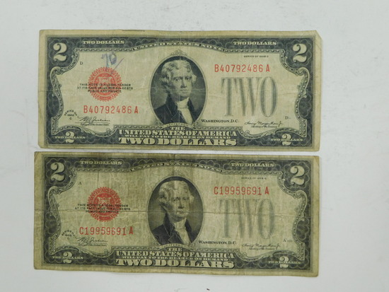 1928 C&D $2 RED SEAL BILLS
