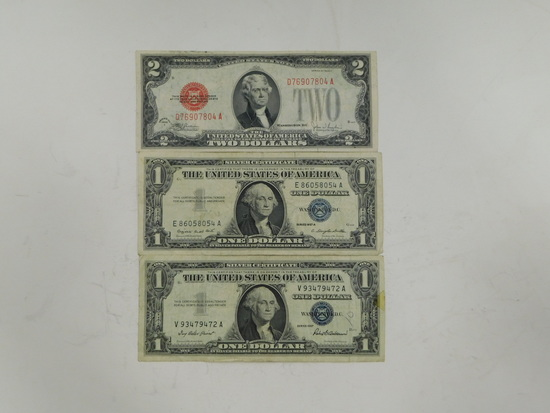 (2) 1957 SILVER CERTIFICATES & 1928 RED SEAL $2 BILL