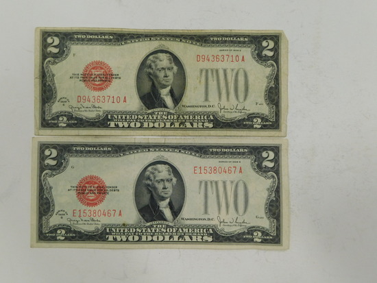 (2) 1928G $2 RED SEAL BILLS
